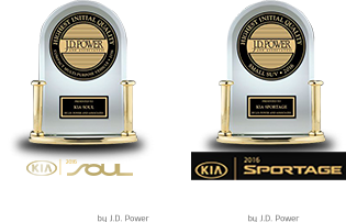 2016 SOUL - 'Highest Ranked Compact Multi-Purpose Vehicle In Initial Quality in the U.S. Two Years In A Row' by J.D. Power / 2016 SPORTAGE - 'Highest Ranked Small SUV in Initial Quality in the U.S.' by J.D. Power