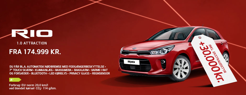 Kia Rio Attraction inkl. ekstraudstyr for 30.000 kr.