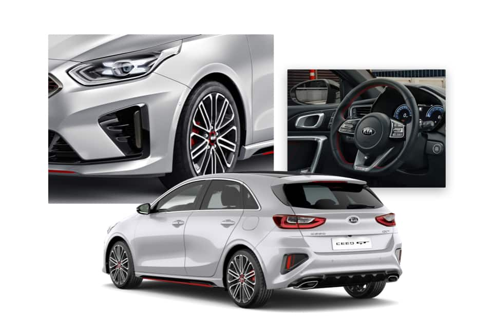Side view of the Kia Ceed GT and shots of its interior and front grille