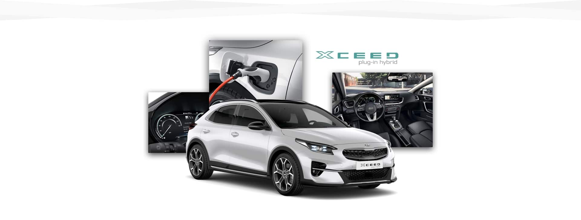Side view of Kia XCeed Plug-In Hybrid with shots of charging point, cabin and instrument cluster