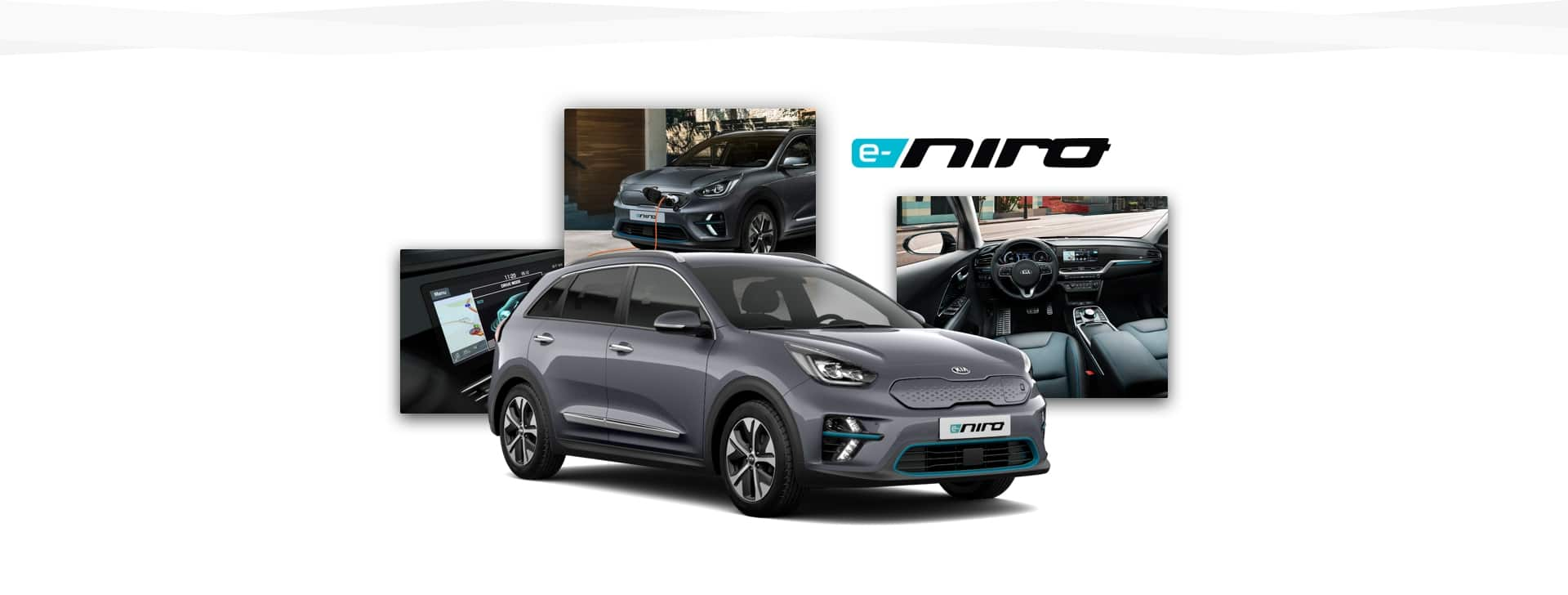 Side view of Kia e-Niro with shots of navigation panel, charging point and cabin