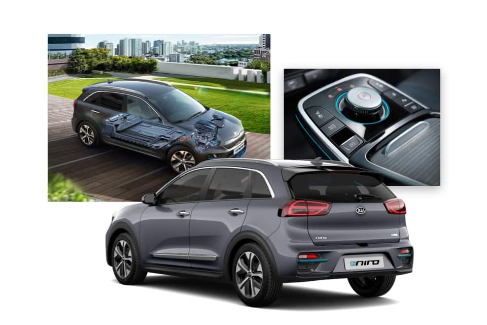 Side view of Kia e-Niro with cutaway view of drive system and shot of drive mode selector