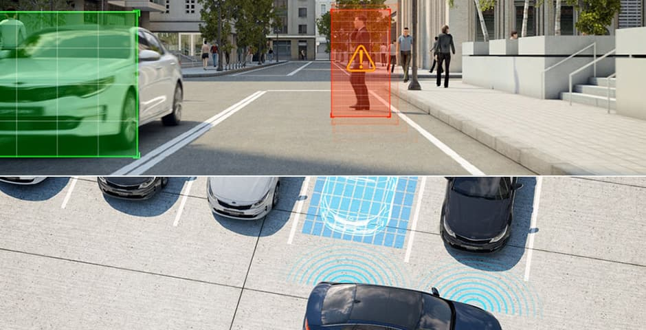 tecnologie Kia Motors Drive Wise: Autonomous Emergency Braking and Smart Park Assist System