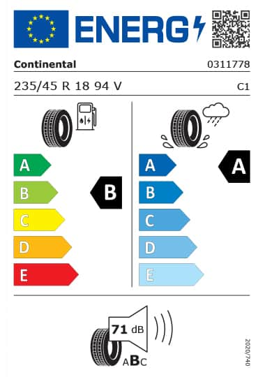 Kia Tyre Label  - continental-0311778-235-45R18
