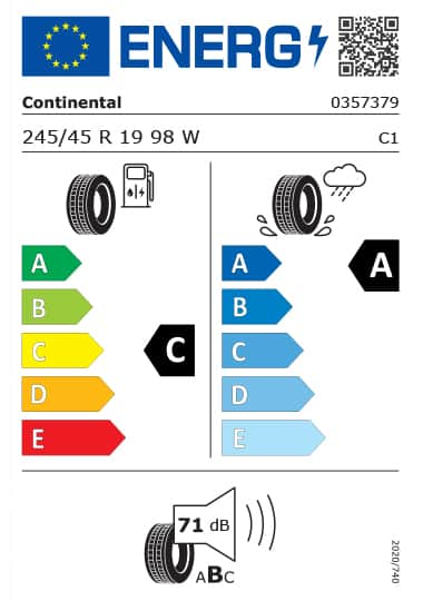 Kia Tyre Label  - continental-0357379-245-45R19