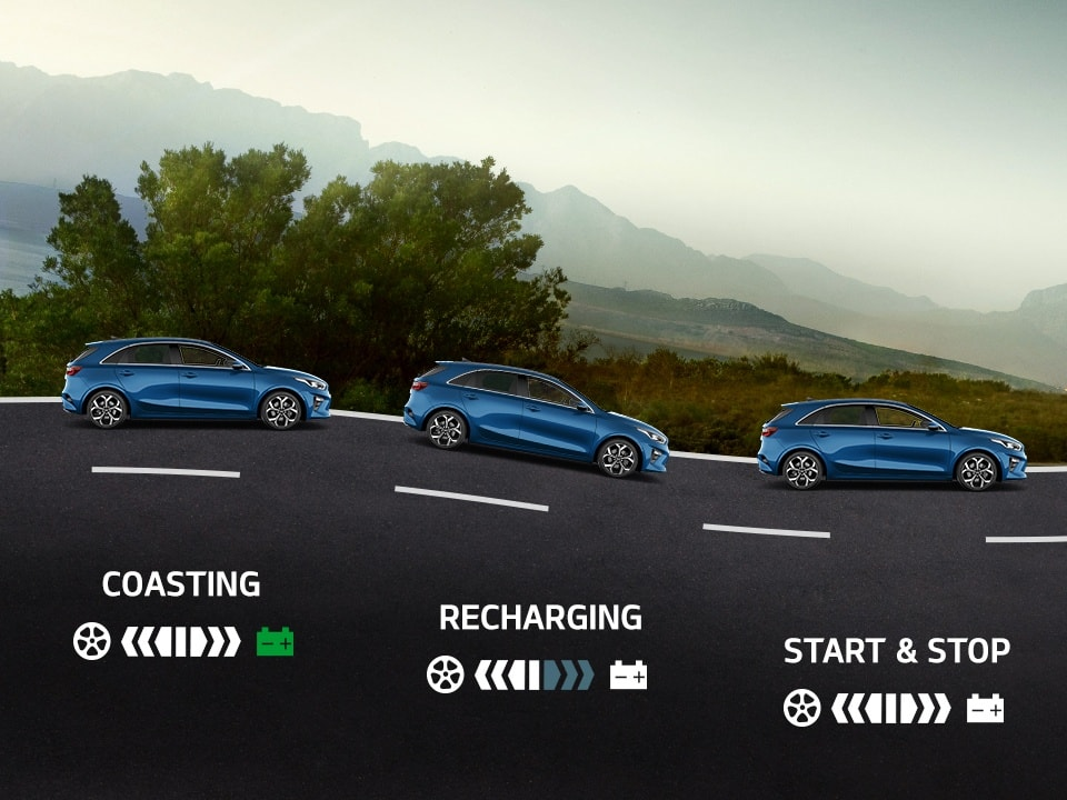 kia mild hybrid energy flow for coasting, recharging, stop & start