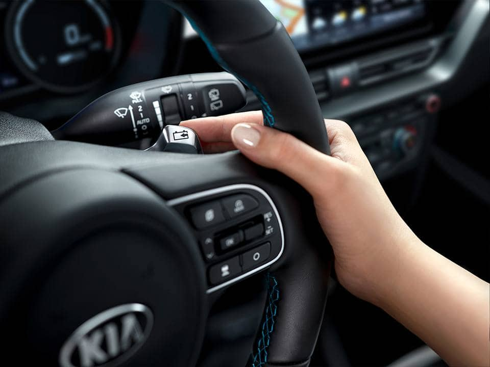 Kia e-Niro paddle shifter on steering wheel