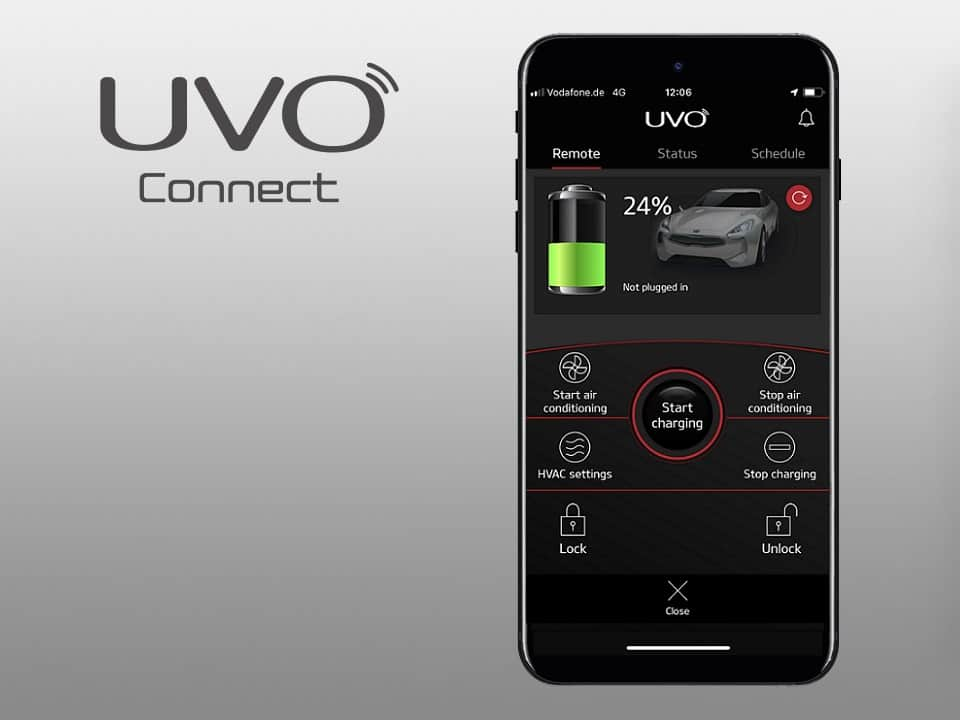 Kia e-Niro UVO connect services