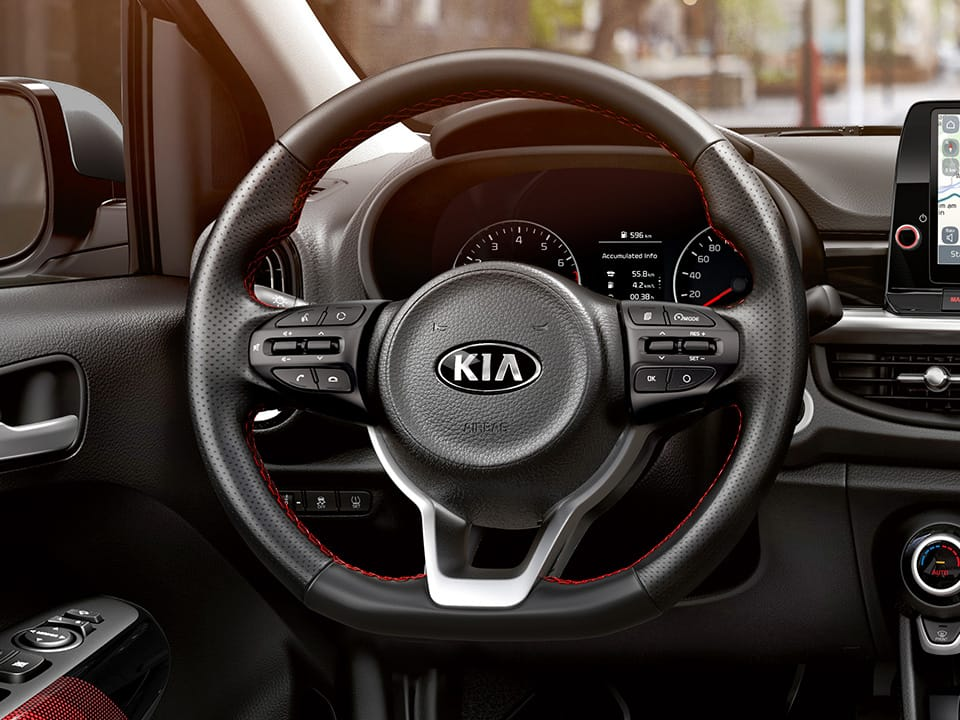 The new Kia Picanto GT Line d-cut steering wheel with perforated leather