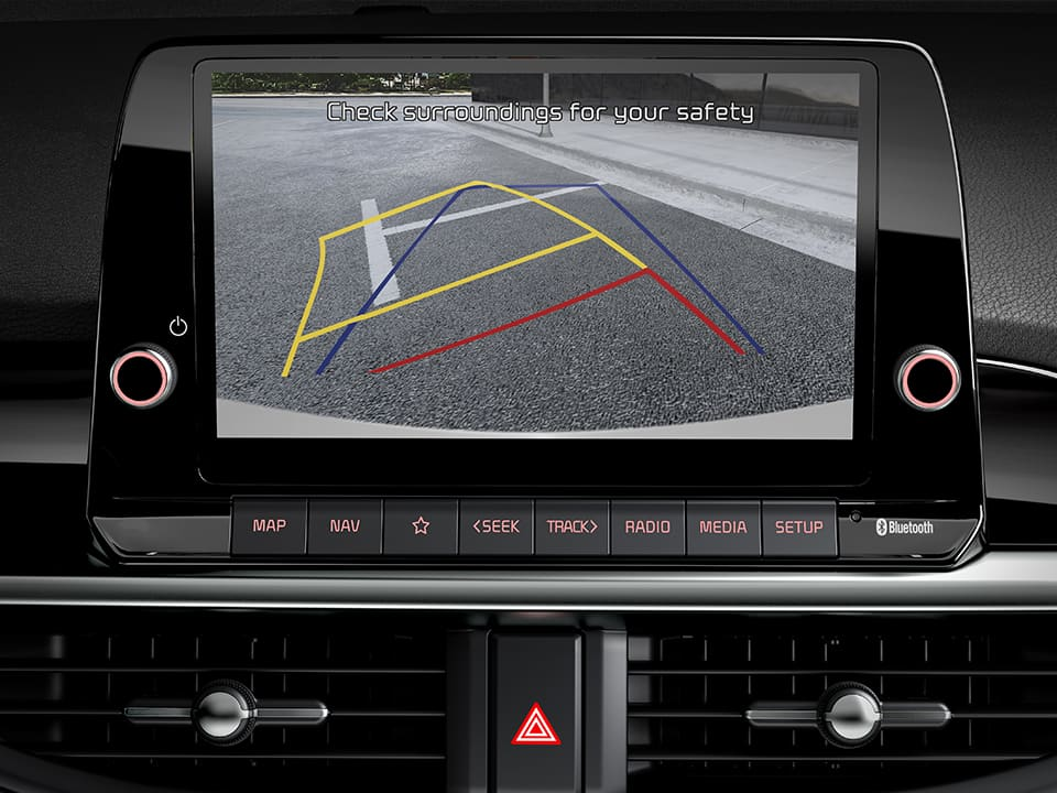 The new Kia Picanto rear view camera with dynamic guidelines