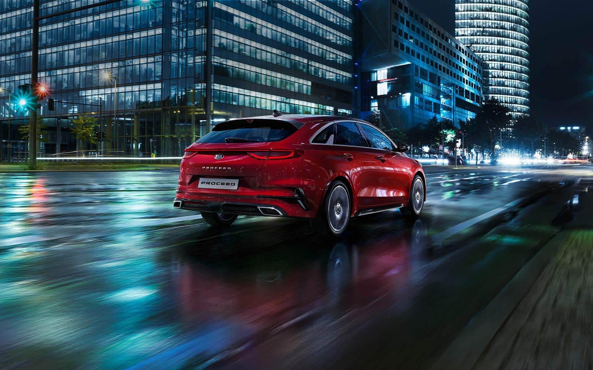 Kia ProCeed night-time driving rear view