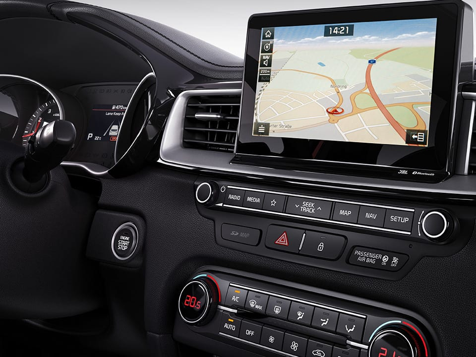 Kia ProCeed Connected Services on navigation touchscreen