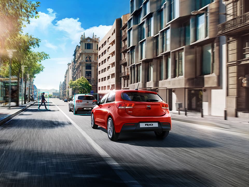 Kia Rio Autonomous Emergency Braking with pedestrian detection