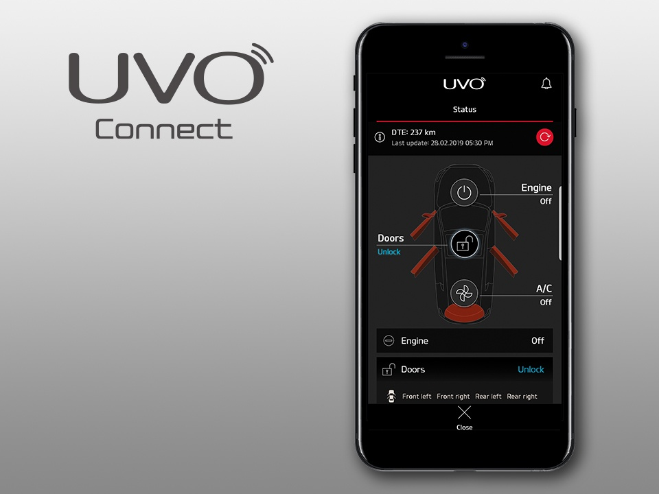 Kia Niro Plug-in Hybrid UVO connect telematics features