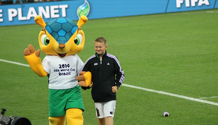 Lucky James Fieldhouse, from Lofthouse, West Yorkshire was invited by Kia Motors to be England's official Mascot Friend for the team's game against Uruguay at the 2014 FIFA World Cup Brazil. James accompanied the Mascot onto the pitch at half time entertaining crowds.