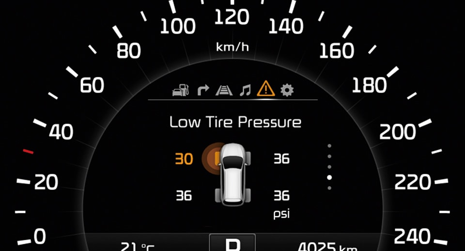 Dashboard low tire pressure indicator