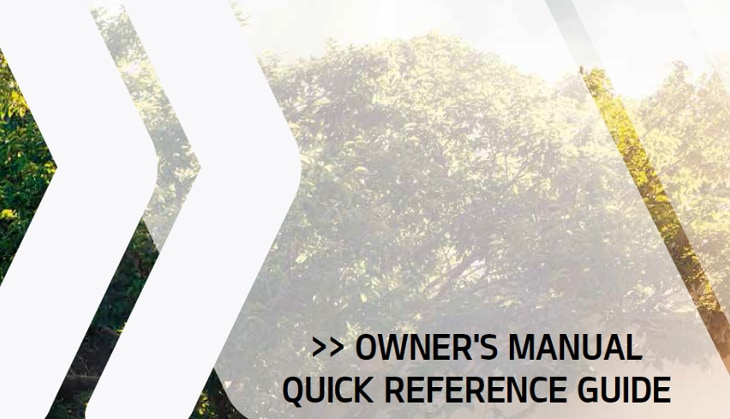 Owner's manual quick reference guide