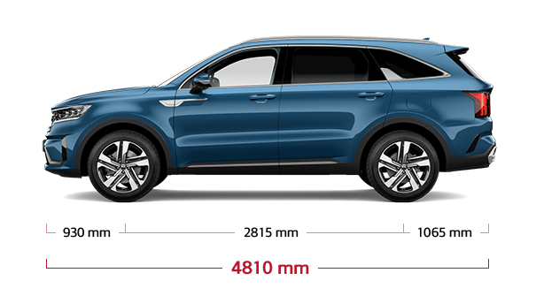 The all-new Kia Sorento PHEV side view dimensions
