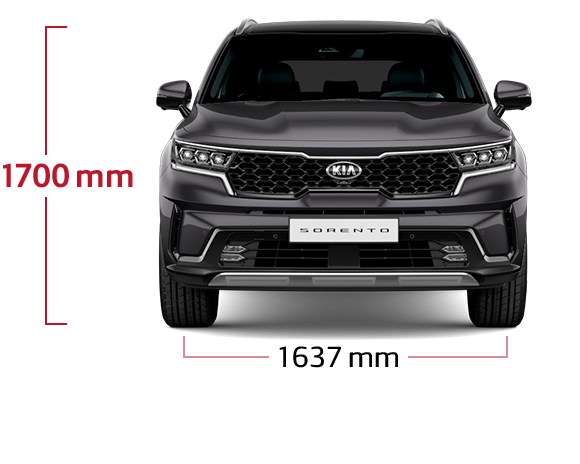 The all-new Kia Sorento front view dimensions