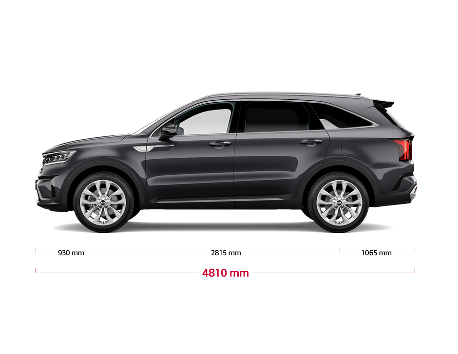 The all-new Kia Sorento side view dimensions