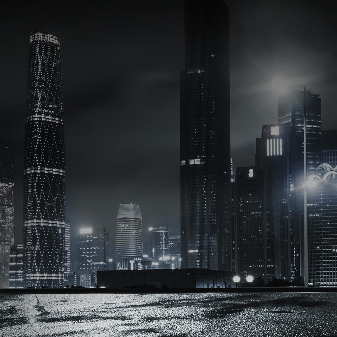 Moonlit Nighttime Cityscape