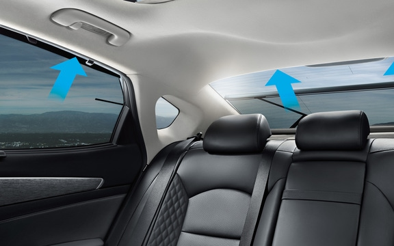 The power-operated rear door window sunshade.