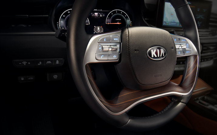 Leather-Wrapped Steering Wheel in the 2019 Kia K900