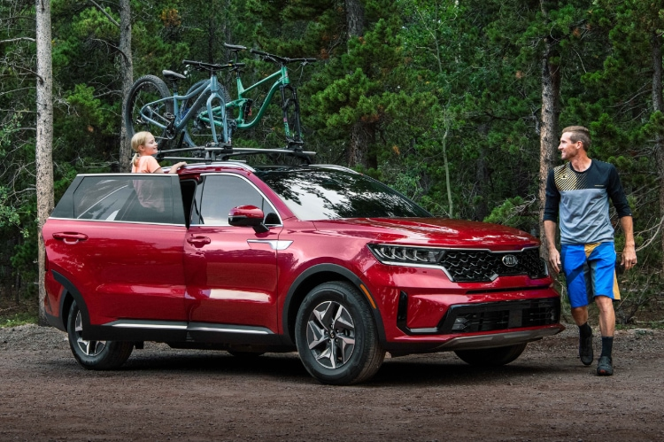 2021 Kia Sorento S Hybrid Parked In A Forest And Equipped With A Bike Rack