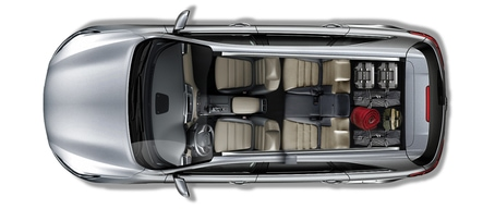 50/50 folding 3rd row seats in the 2019 Kia Sorento
