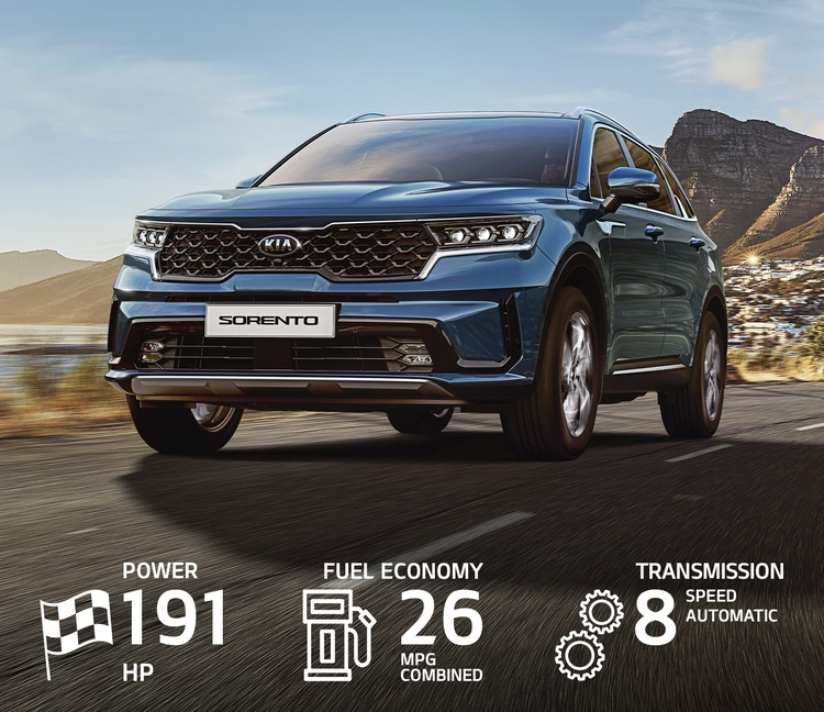 2021 Kia Sorento Driving Along The Coast Front View