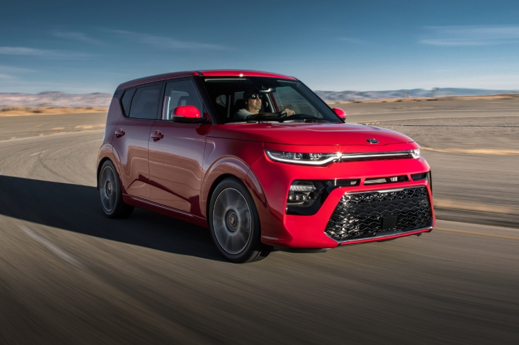 2021 Kia Soul Inferno Red Exterior Driving In The Desert