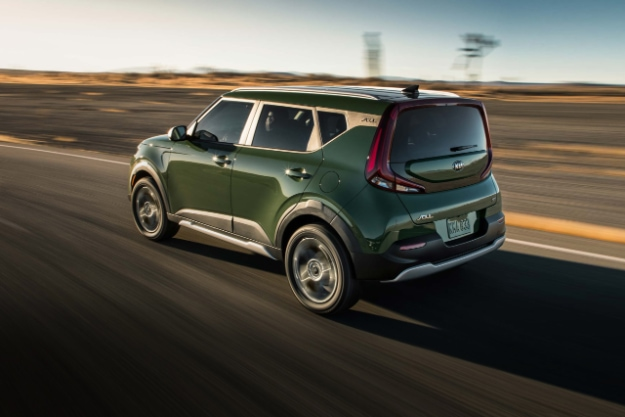 2021 Kia Soul Undercover Green Driving Rear Three-Quarter View