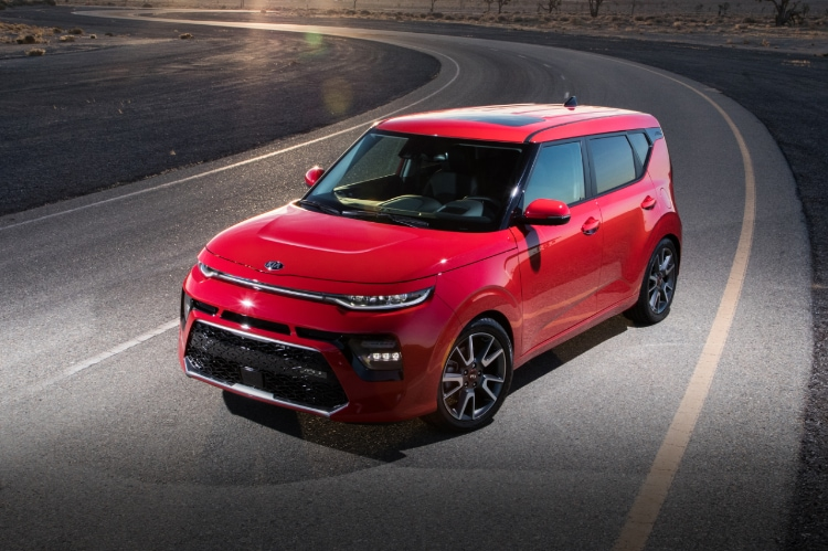2021 Kia Soul Inferno Red Exterior Three-Quarter View At Sunset