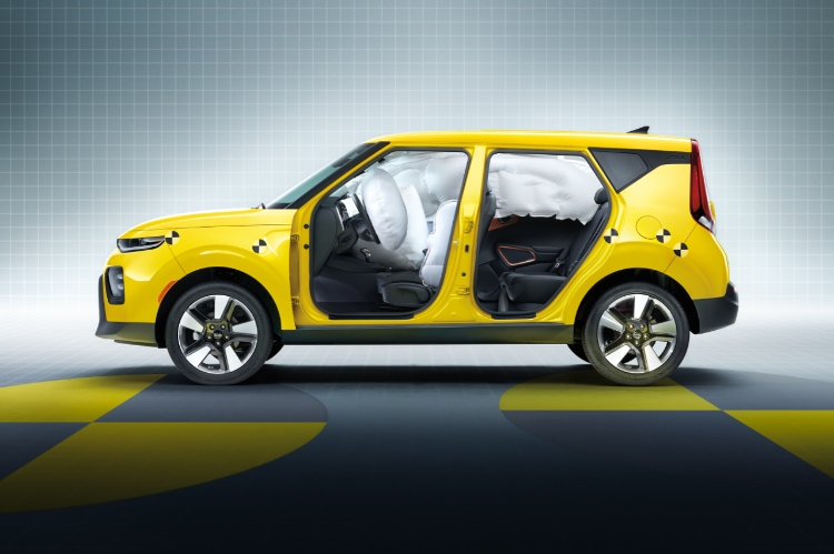 2021 Kia Soul Solar Yellow With Airbags Deployed